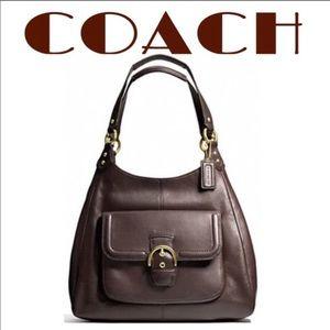 COACH Campbell Brown Leather Boho shoulder bag